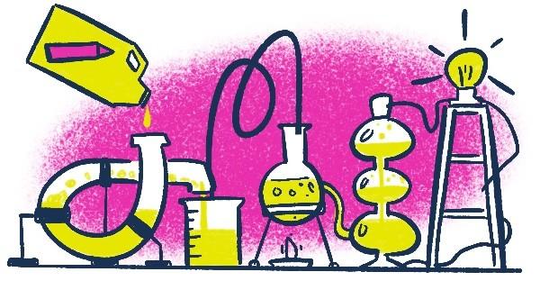 Sobre um fundo rosa vemos a ilustração de uma complexa instalação de laboratório químico com vários tubos, ampolas, e compartimentos. Do lado esquerdo, no início da instalação, vemos uma garrafa semelhante a aditivo de gasolina, com um lápis no rótulo, vertendo Pensamento Visual no sistema. Na outra ponta, do lado direito, vemos uma lâmpada se acendendo