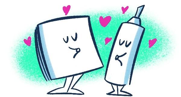 ilustração de um bloco de post-its e uma caneta tipo pincel atômico. Ambos estão apaixonados e têm coraçõezinhos pairando ao redor