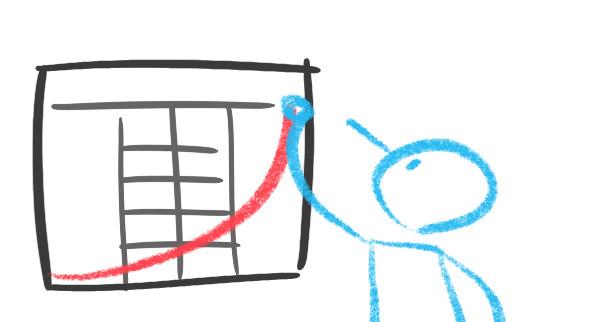 Uma figura ilustrada traça uma linha sobre um canvas de Organizações Exponenciais afixado em uma parede. A linha traçada é vermelha e tem o formato de uma linha de crescimento exponencial