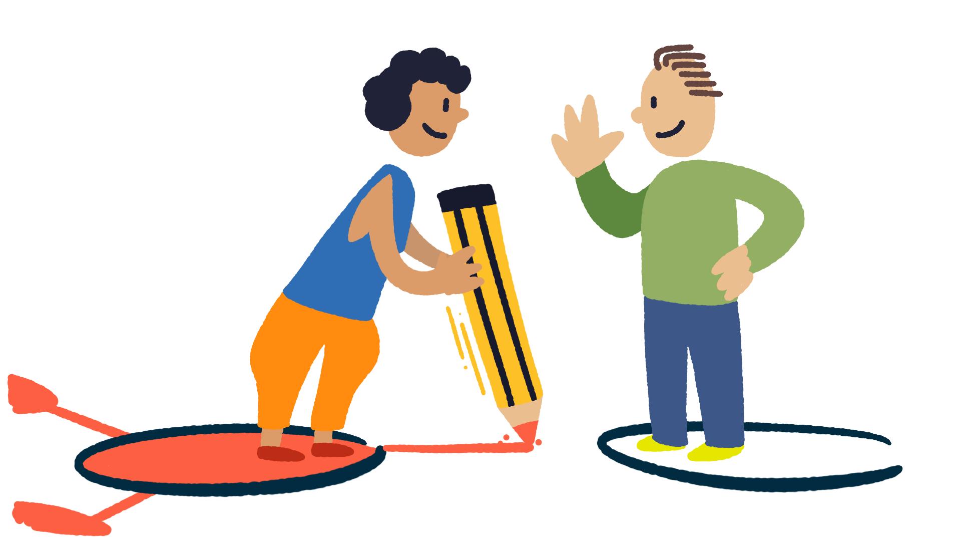 Ilustração de duas figuras. Ambas estão sobre círculos no chão. A figura da esquerda traça uma linha entre os dois círculos.