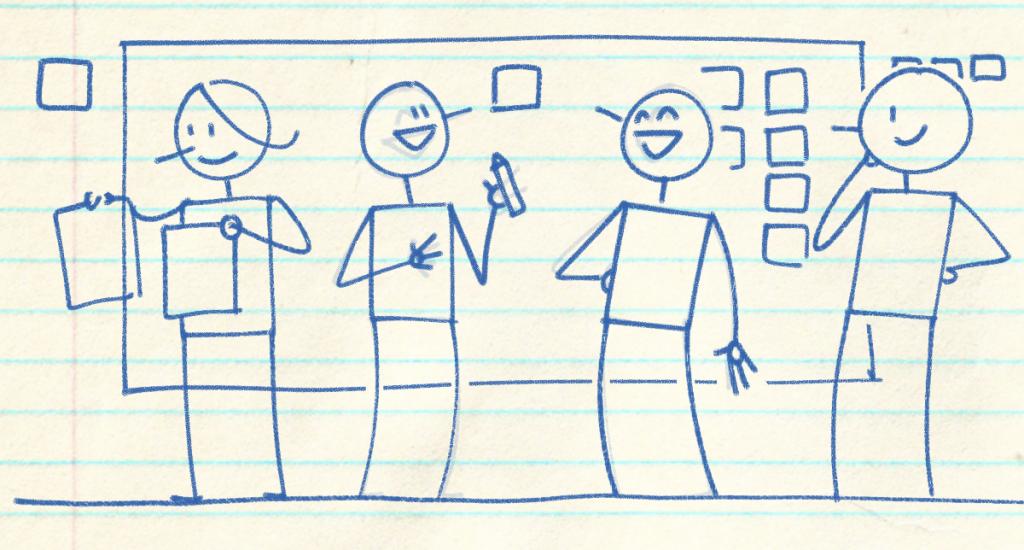 Ilustração sobre papel de escola de 4 pessoas em um workshop. Todas estão animadas, uma avalia duas opções com duas páginas diferentes. Os dois personagens do centro estão rindo e a pessoa do final, mais à direita está avaliando os post its na parede