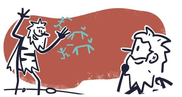 Dois homens das cavernas conversam. O do lado esquerdo está muito animado, junto a uma parede de caverna onde estão alguns desenhos de uma caçada. O do lado direito, mais próximo do observador, está pensativo com a mão no queixo. Ele parece entender e aprovar a ideia. É uma forma de mostrar como a expressão visual é uma tecnologia colaborativa