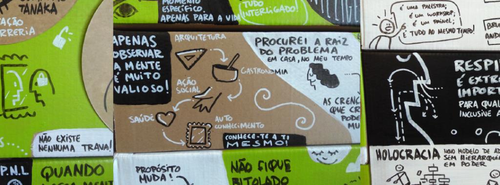 fotografia close up de várias ilustrações feitas em uma vizwall como exemplo de algo diferente para se fazer em Experiências em Eventos